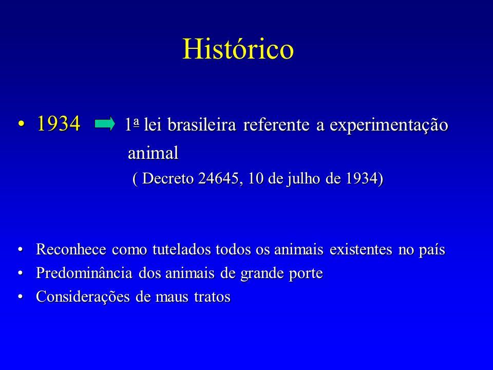 Histórico 1934 1a lei brasileira referente a experimentação animal