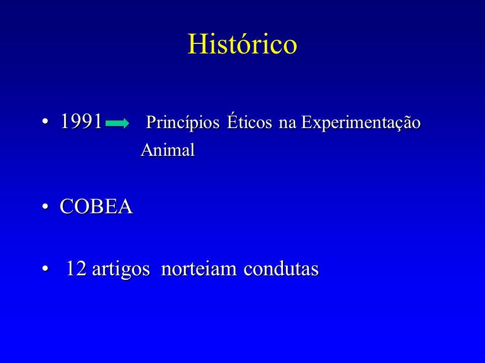 Histórico 1991 Princípios Éticos na Experimentação COBEA