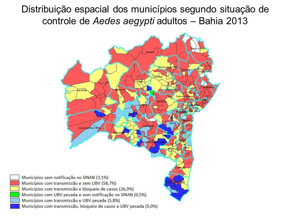 Distribuição espacial dos municípios segundo situação de controle de Aedes aegypti adultos – Bahia 2013