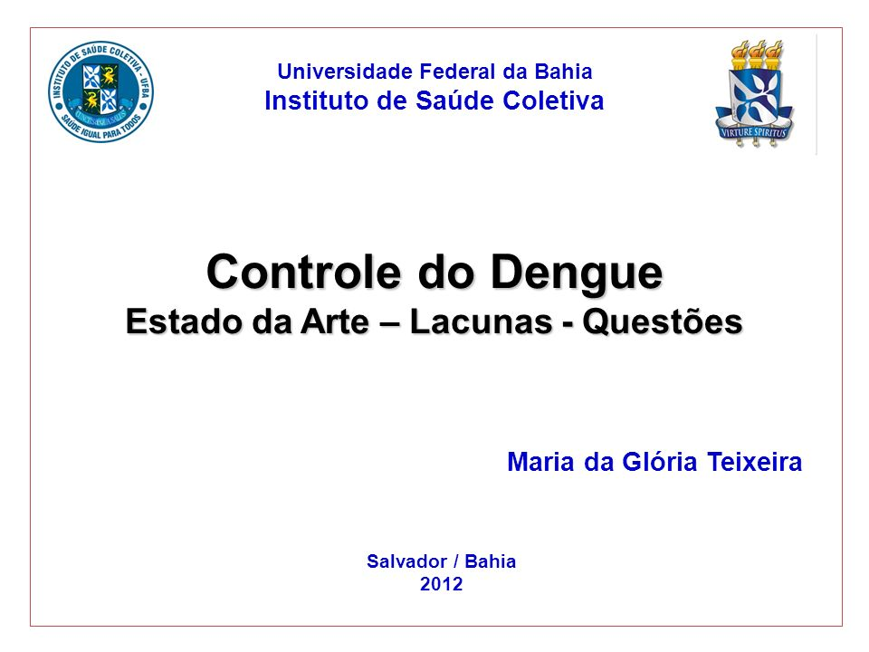 Controle do Dengue Estado da Arte – Lacunas - Questões