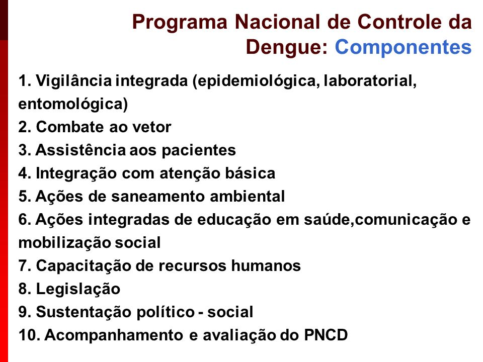 Programa Nacional de Controle da Dengue: Componentes