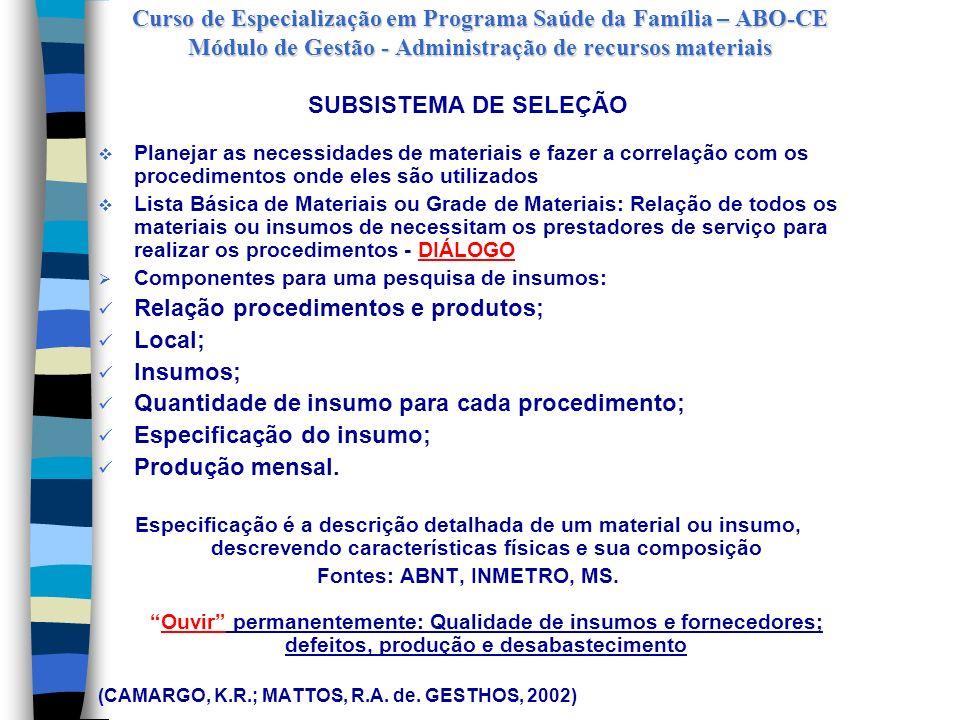 Fontes: ABNT, INMETRO, MS.