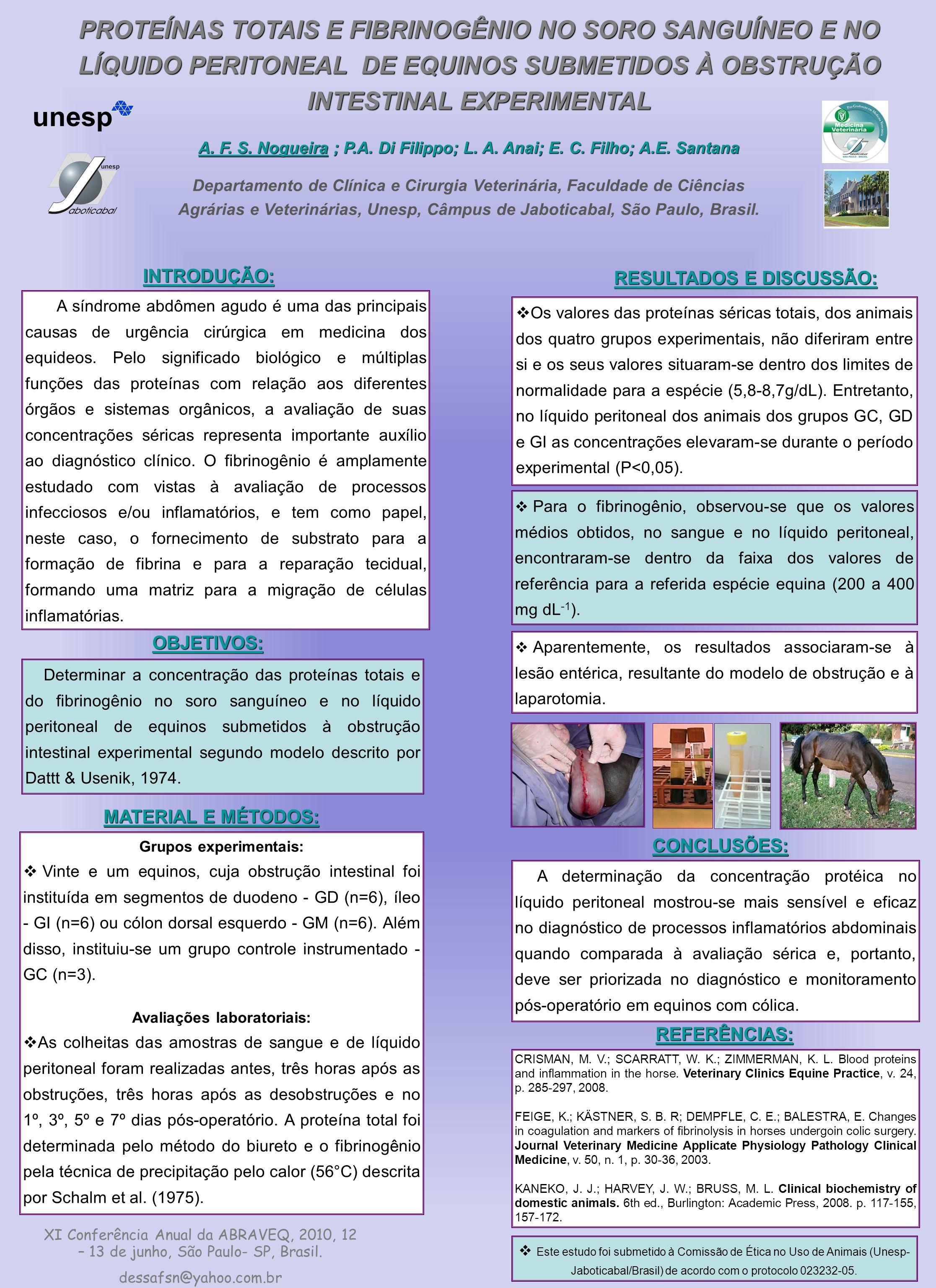 PROTEÍNAS TOTAIS E FIBRINOGÊNIO NO SORO SANGUÍNEO E NO LÍQUIDO PERITONEAL DE EQUINOS SUBMETIDOS À OBSTRUÇÃO INTESTINAL EXPERIMENTAL