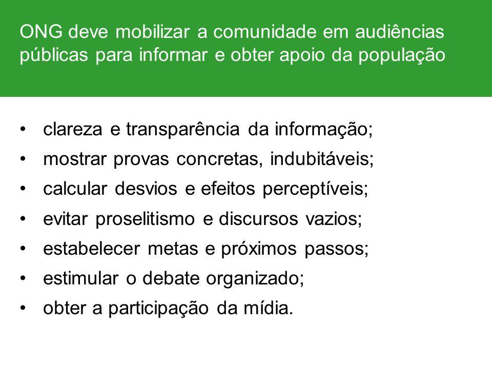 ONG deve mobilizar a comunidade em audiências públicas para informar e obter apoio da população