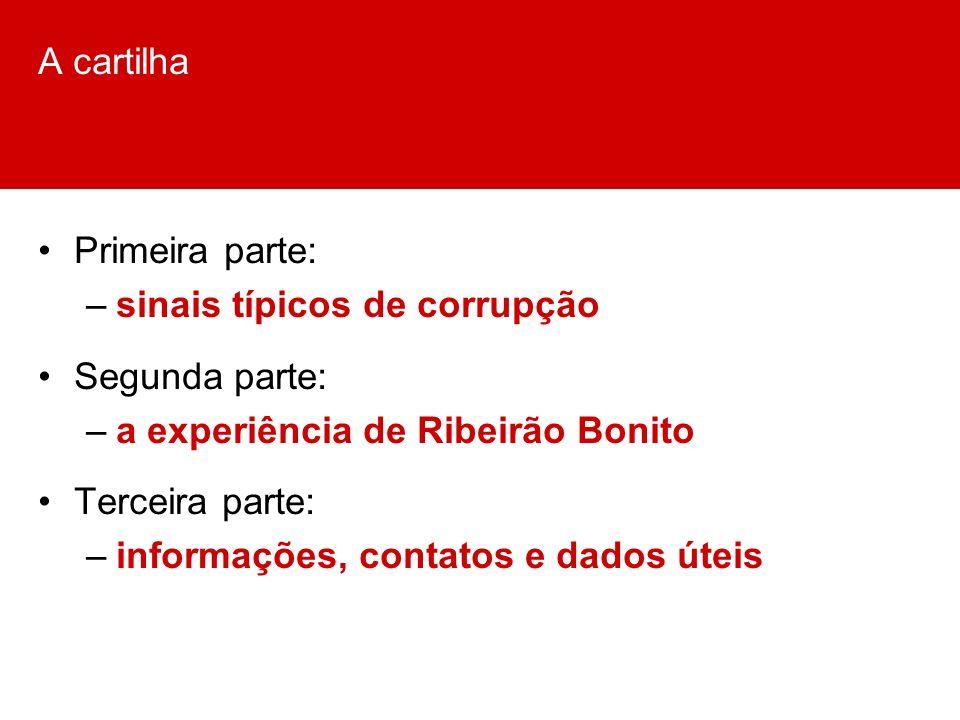 A cartilha Primeira parte: sinais típicos de corrupção. Segunda parte: a experiência de Ribeirão Bonito.