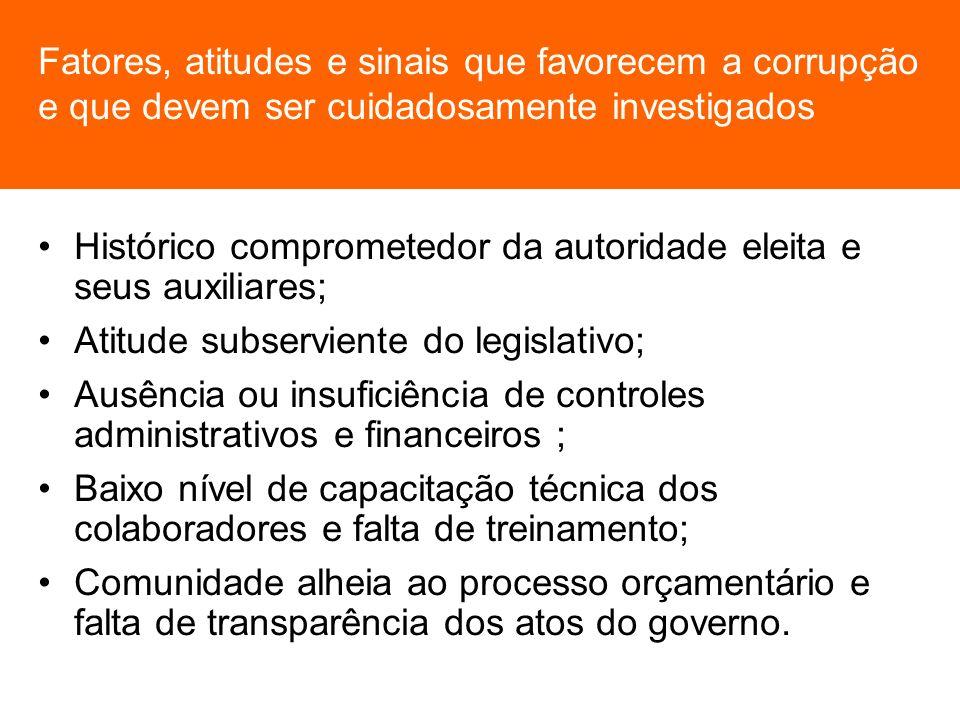 Fatores, atitudes e sinais que favorecem a corrupção e que devem ser cuidadosamente investigados