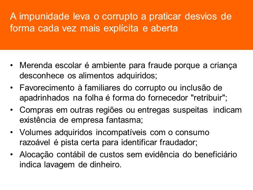 A impunidade leva o corrupto a praticar desvios de forma cada vez mais explícita e aberta