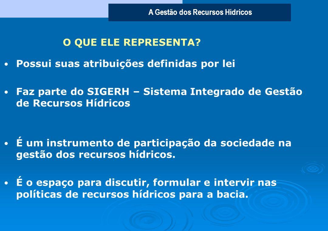 O QUE ELE REPRESENTA Possui suas atribuições definidas por lei. Faz parte do SIGERH – Sistema Integrado de Gestão de Recursos Hídricos.