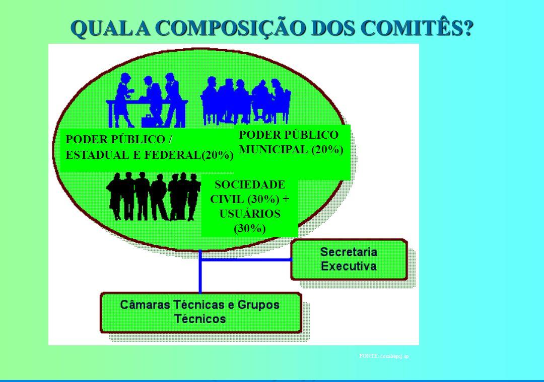 QUAL A COMPOSIÇÃO DOS COMITÊS SOCIEDADE CIVIL (30%) + USUÁRIOS (30%)
