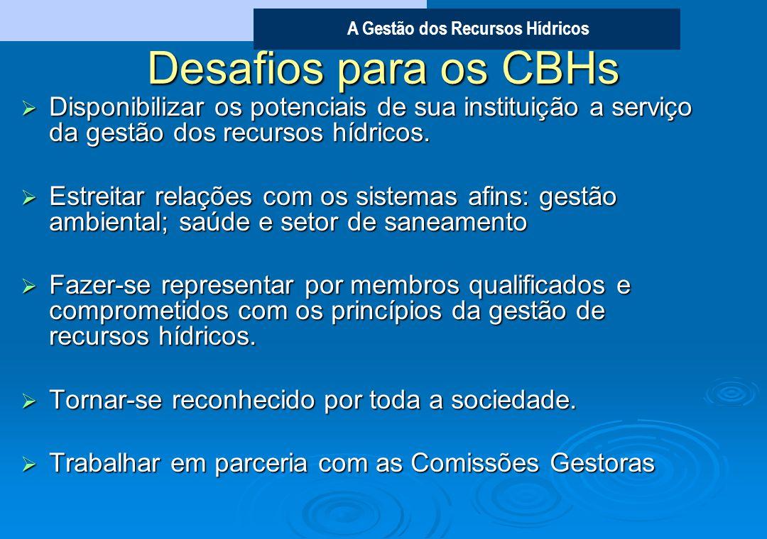 Desafios para os CBHsDisponibilizar os potenciais de sua instituição a serviço da gestão dos recursos hídricos.