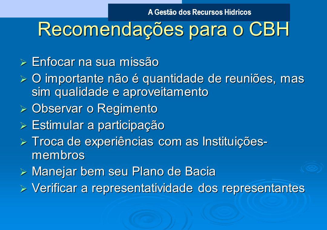 Recomendações para o CBH