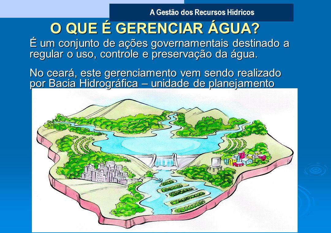 O QUE É GERENCIAR ÁGUA É um conjunto de ações governamentais destinado a regular o uso, controle e preservação da água.