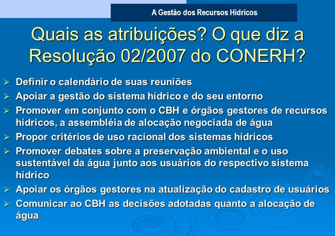 Quais as atribuições O que diz a Resolução 02/2007 do CONERH