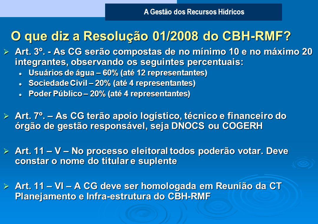 O que diz a Resolução 01/2008 do CBH-RMF
