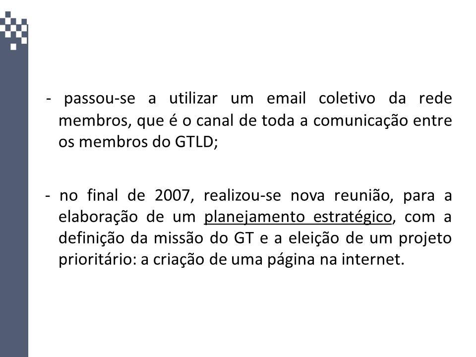 - passou-se a utilizar um email coletivo da rede membros, que é o canal de toda a comunicação entre os membros do GTLD;