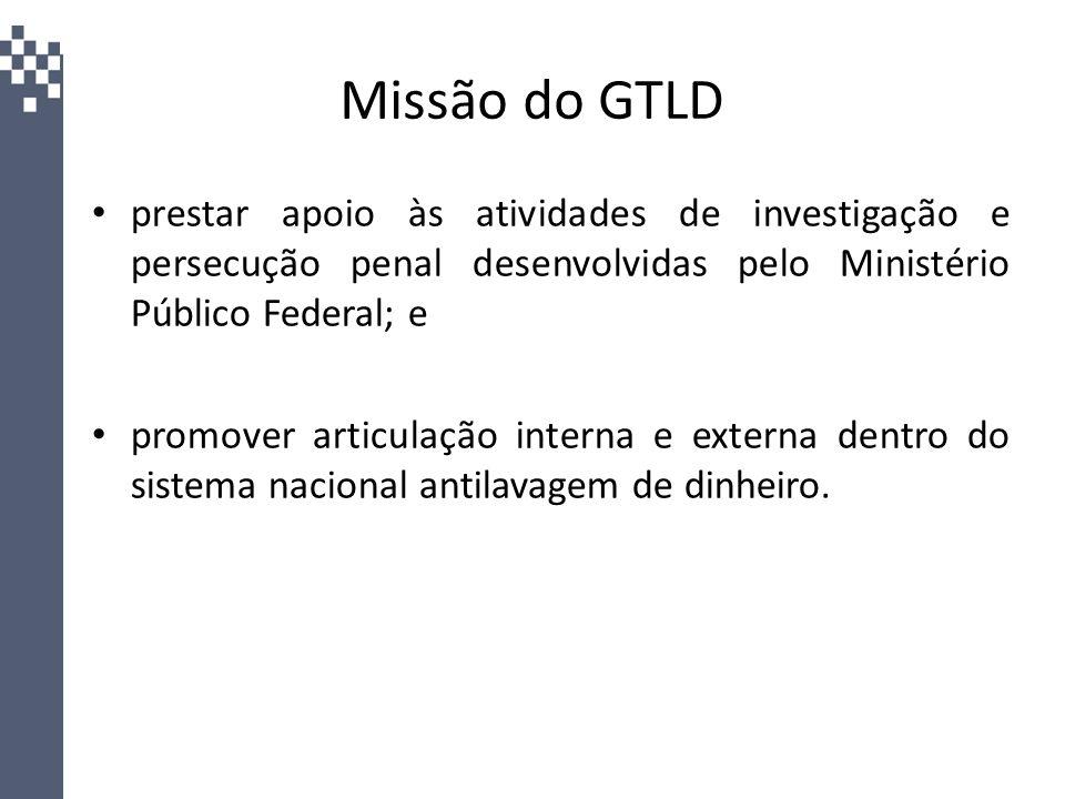 Missão do GTLD prestar apoio às atividades de investigação e persecução penal desenvolvidas pelo Ministério Público Federal; e.