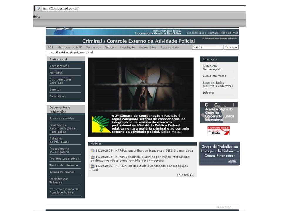 1ª Tela: página inicial da 2ª Câmara, com imagem e link para a página do GTLD no canto inferior direito