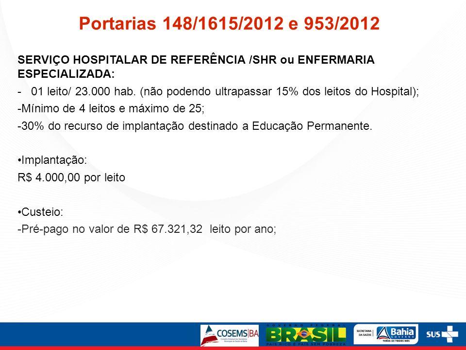 Portarias 148/1615/2012 e 953/2012 SERVIÇO HOSPITALAR DE REFERÊNCIA /SHR ou ENFERMARIA ESPECIALIZADA: