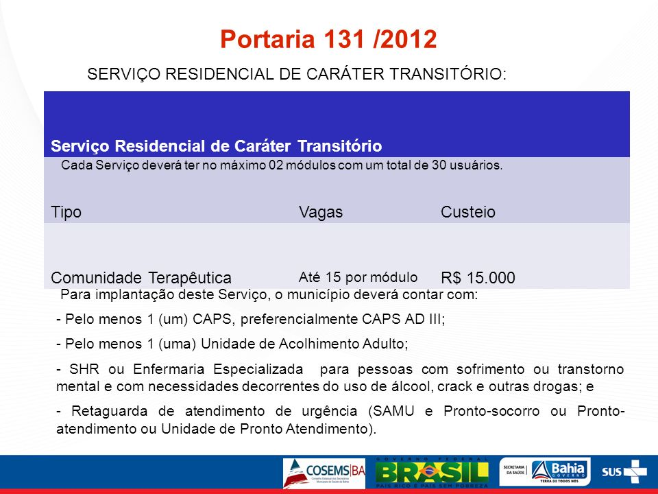 Portaria 131 /2012 SERVIÇO RESIDENCIAL DE CARÁTER TRANSITÓRIO: