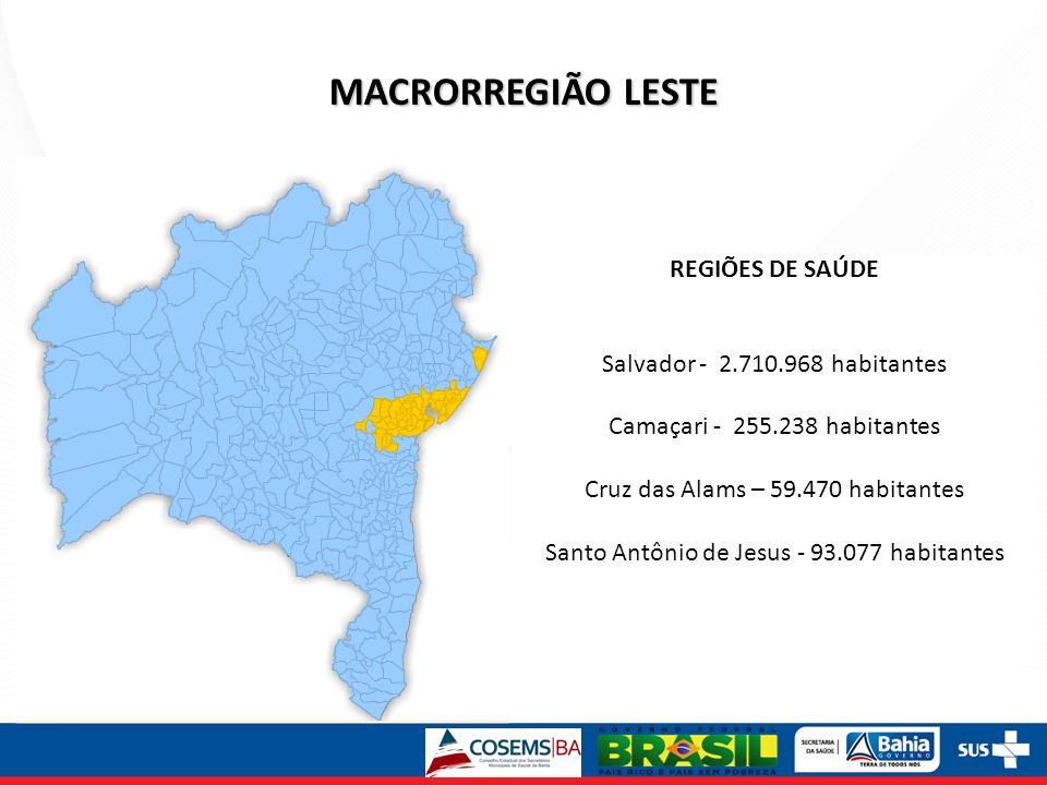 MACRORREGIÃO LESTE REGIÕES DE SAÚDE Salvador - 2.710.968 habitantes