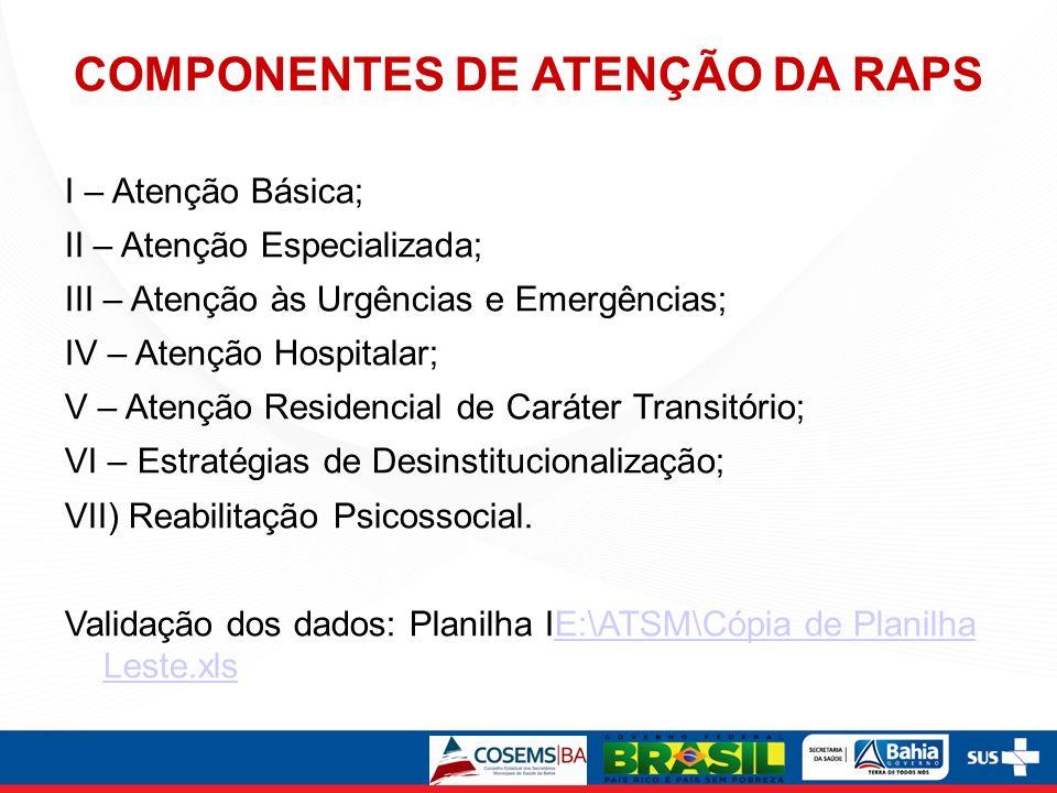 COMPONENTES DE ATENÇÃO DA RAPS