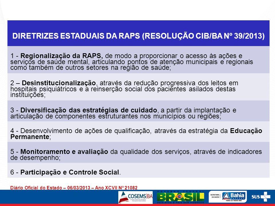 DIRETRIZES ESTADUAIS DA RAPS (RESOLUÇÃO CIB/BA Nº 39/2013)