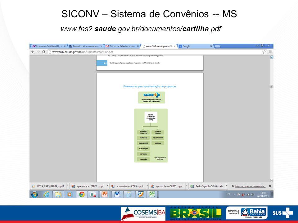 SICONV – Sistema de Convênios -- MS