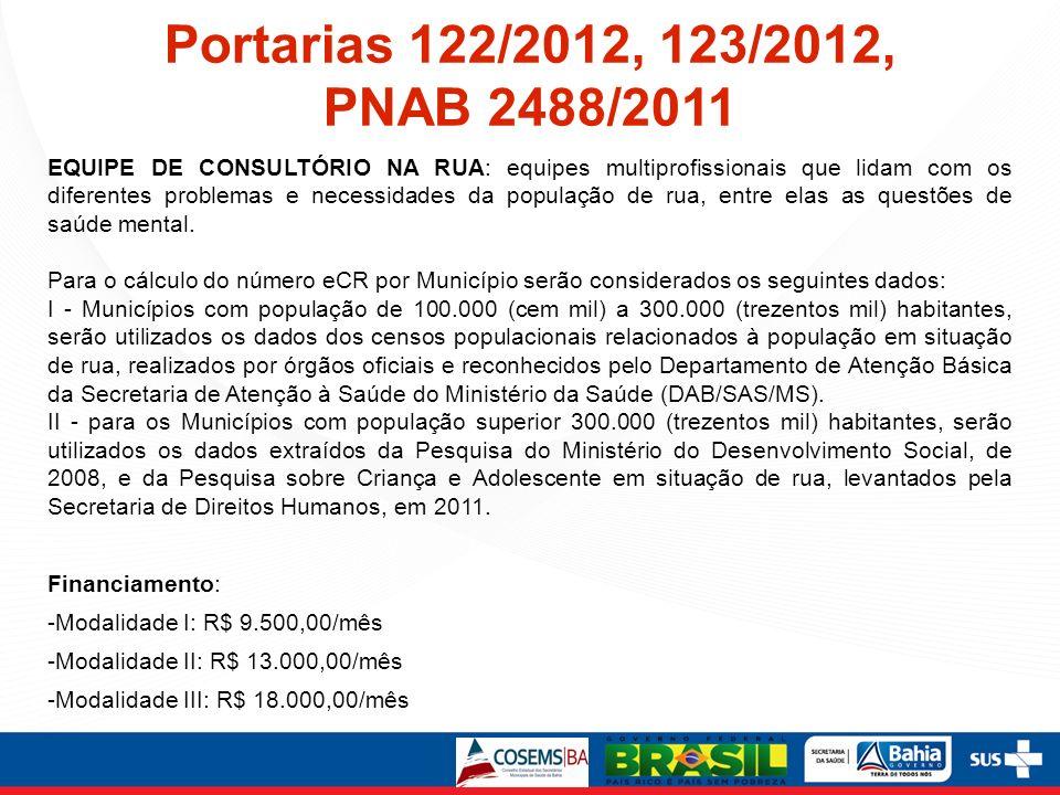 Portarias 122/2012, 123/2012, PNAB 2488/2011