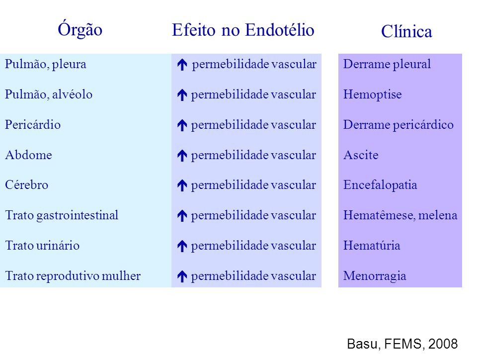 Órgão Efeito no Endotélio Clínica Pulmão, pleura Pulmão, alvéolo