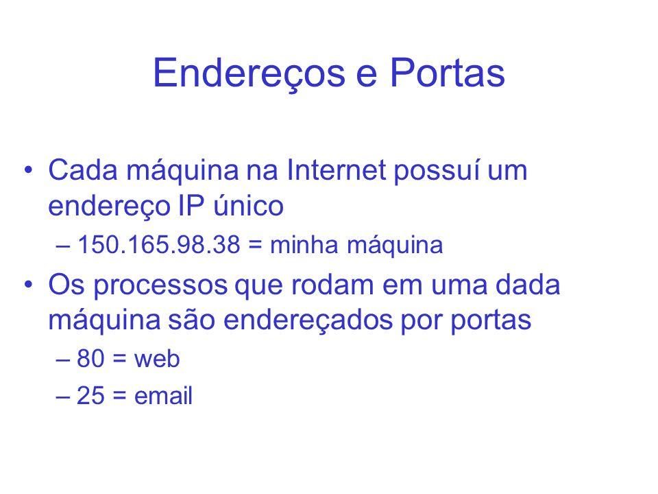 Endereços e Portas Cada máquina na Internet possuí um endereço IP único. 150.165.98.38 = minha máquina.