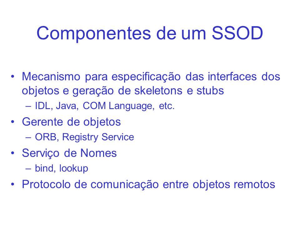 Componentes de um SSOD Mecanismo para especificação das interfaces dos objetos e geração de skeletons e stubs.