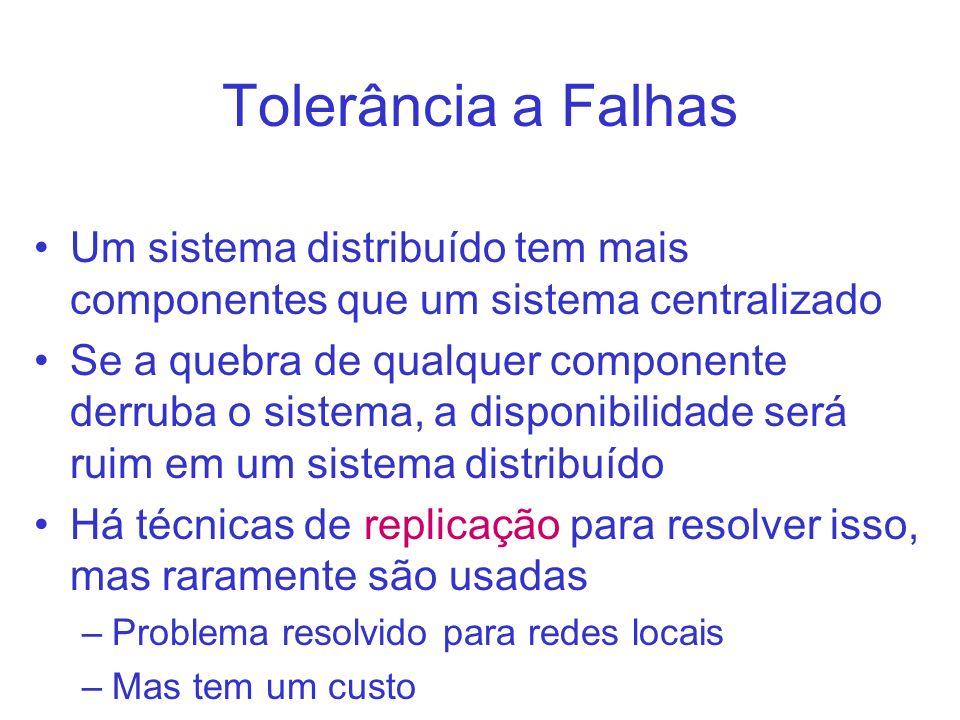Tolerância a Falhas Um sistema distribuído tem mais componentes que um sistema centralizado.