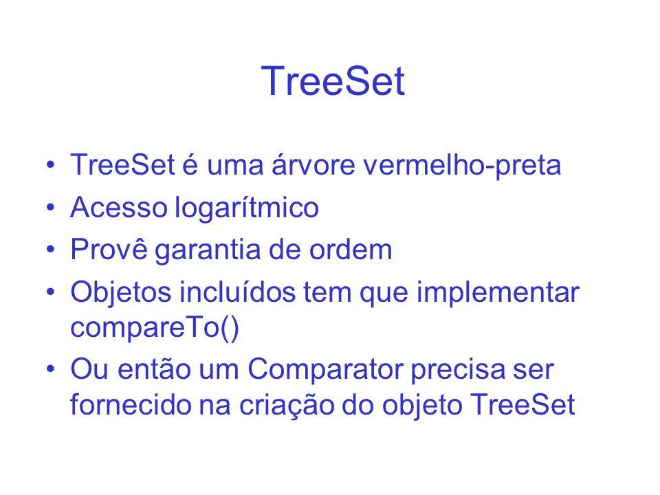 TreeSet TreeSet é uma árvore vermelho-preta Acesso logarítmico