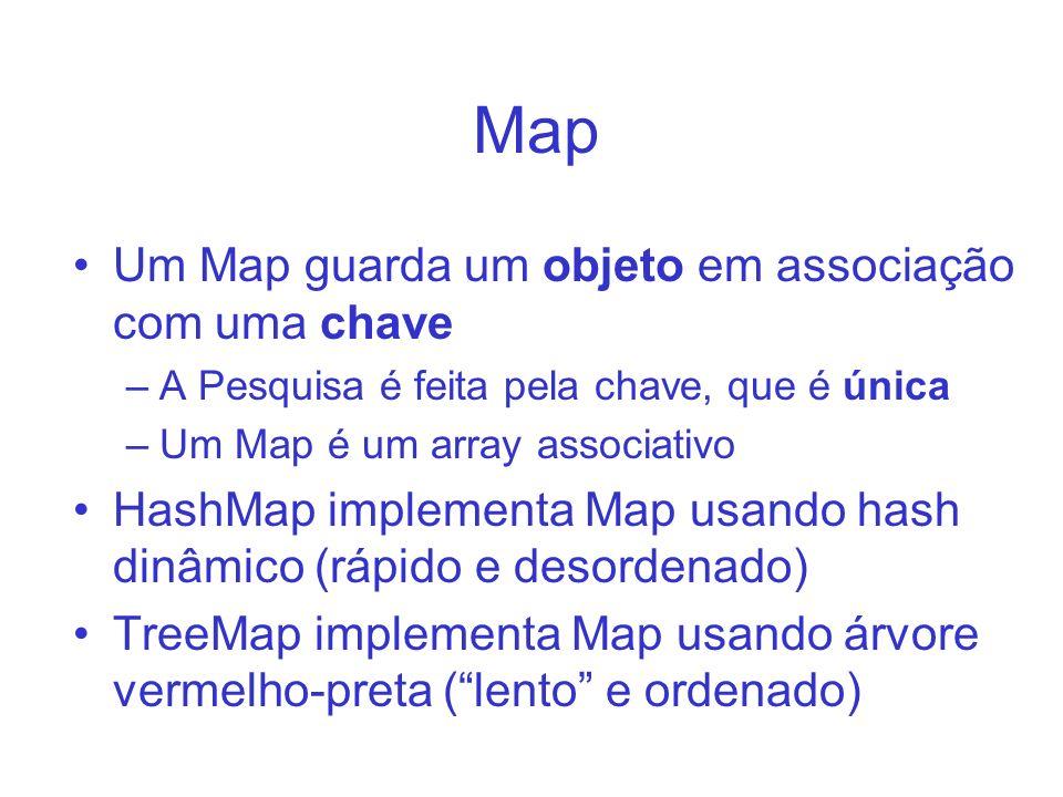 Map Um Map guarda um objeto em associação com uma chave