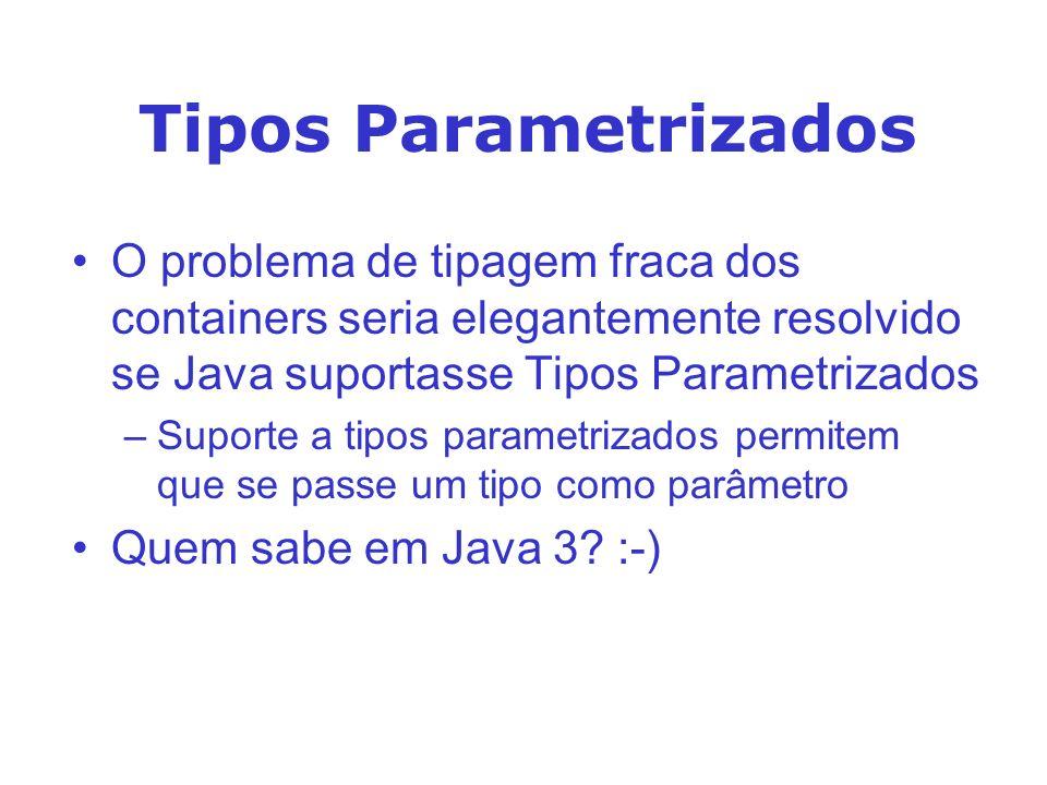 Tipos Parametrizados O problema de tipagem fraca dos containers seria elegantemente resolvido se Java suportasse Tipos Parametrizados.