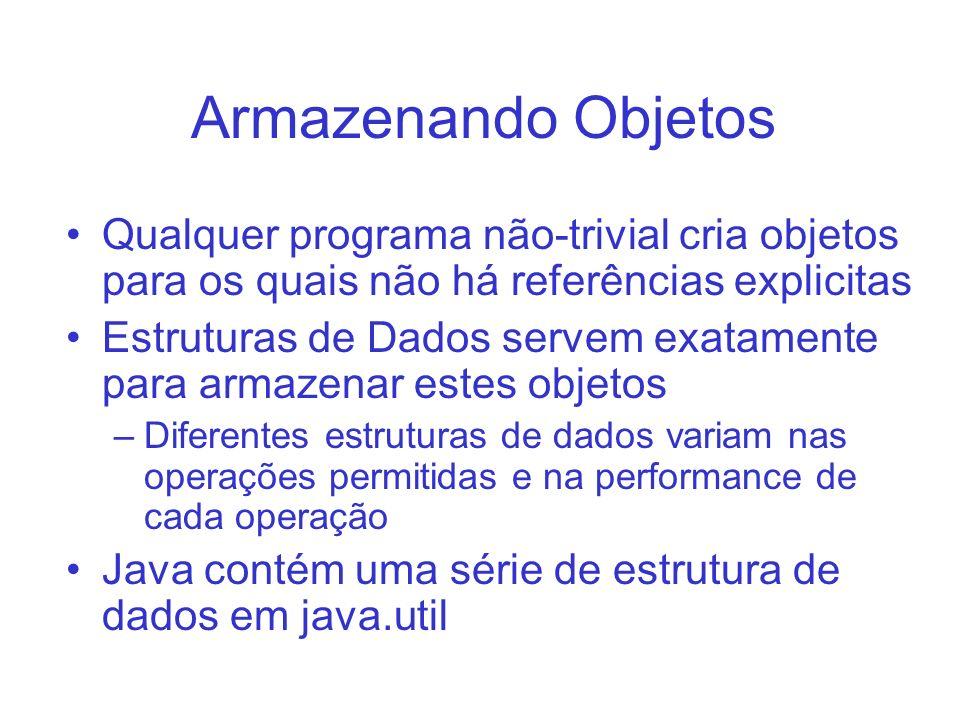 Armazenando Objetos Qualquer programa não-trivial cria objetos para os quais não há referências explicitas.