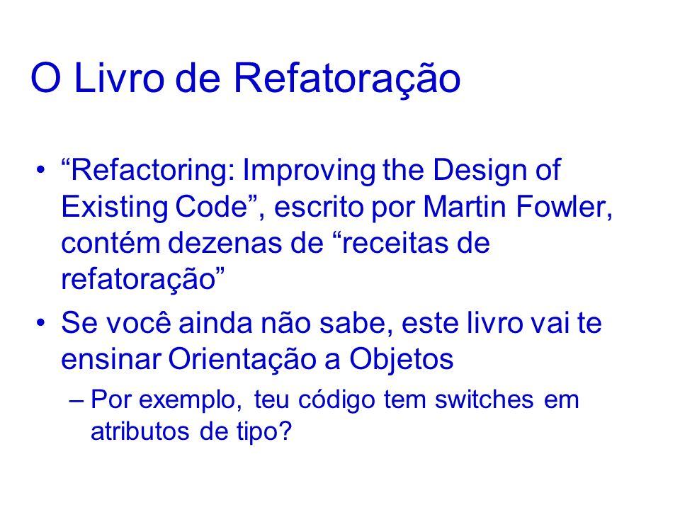 O Livro de Refatoração Refactoring: Improving the Design of Existing Code , escrito por Martin Fowler, contém dezenas de receitas de refatoração