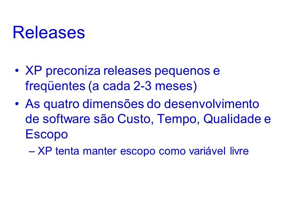 ReleasesXP preconiza releases pequenos e freqüentes (a cada 2-3 meses)