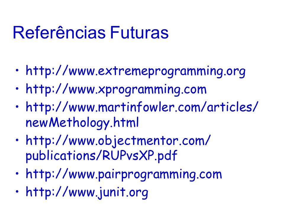 Referências Futuras http://www.extremeprogramming.org