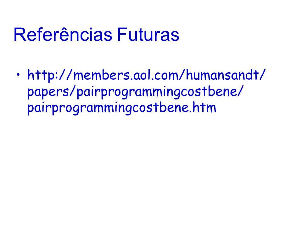 Referências Futurashttp://members.aol.com/humansandt/ papers/pairprogrammingcostbene/ pairprogrammingcostbene.htm.