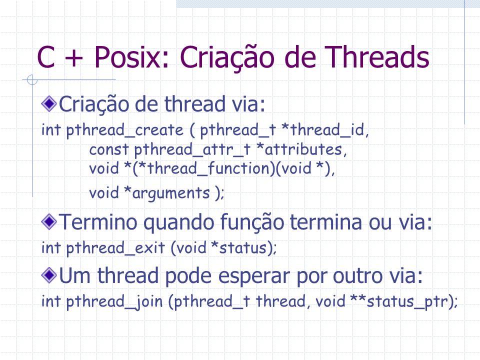 C + Posix: Criação de Threads