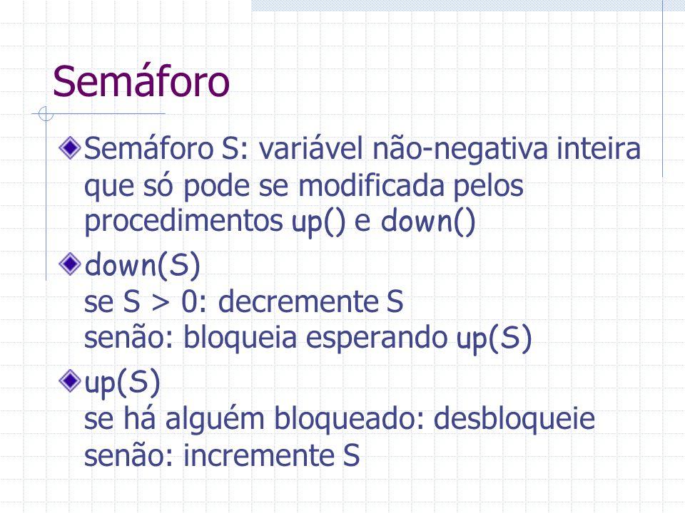 Semáforo Semáforo S: variável não-negativa inteira que só pode se modificada pelos procedimentos up() e down()