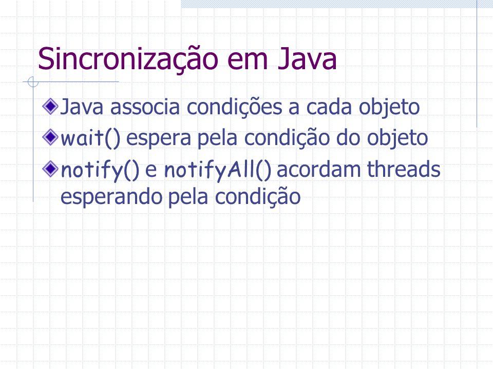 Sincronização em Java Java associa condições a cada objeto