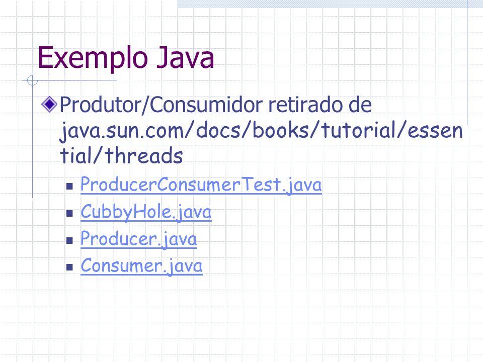 Exemplo Java Produtor/Consumidor retirado de java.sun.com/docs/books/tutorial/essential/threads. ProducerConsumerTest.java.