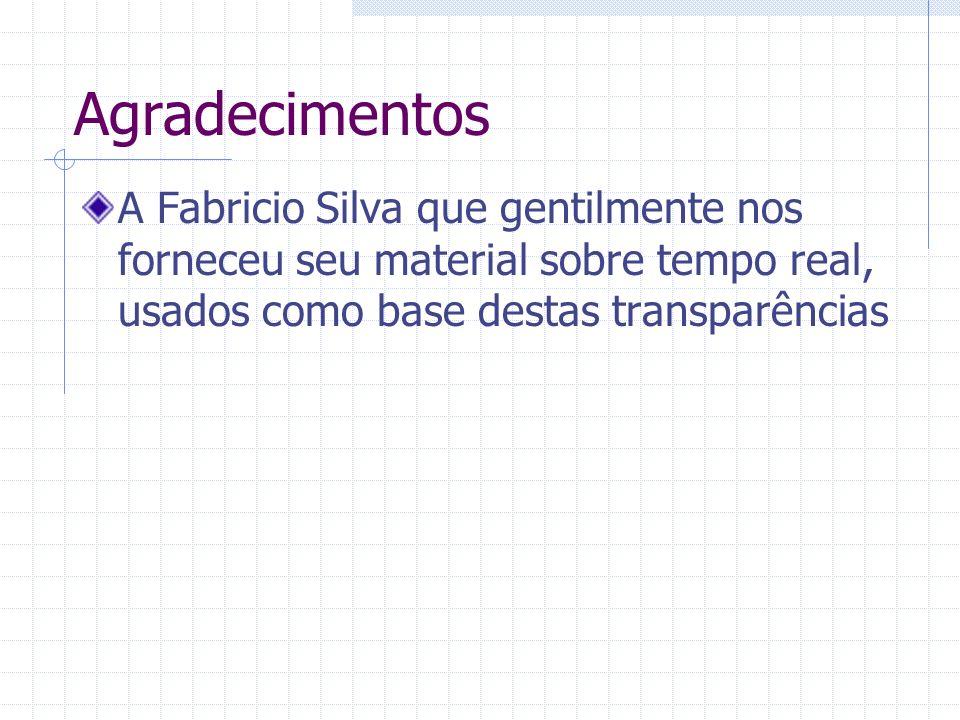 Agradecimentos A Fabricio Silva que gentilmente nos forneceu seu material sobre tempo real, usados como base destas transparências.