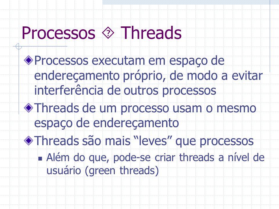 Processos  Threads Processos executam em espaço de endereçamento próprio, de modo a evitar interferência de outros processos.
