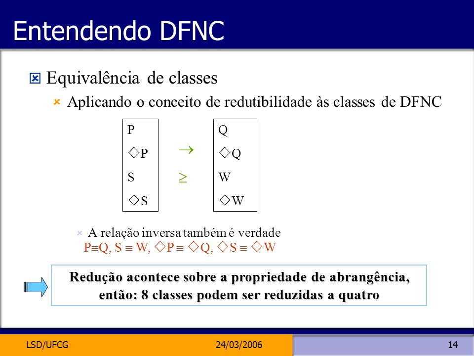 Entendendo DFNC Equivalência de classes