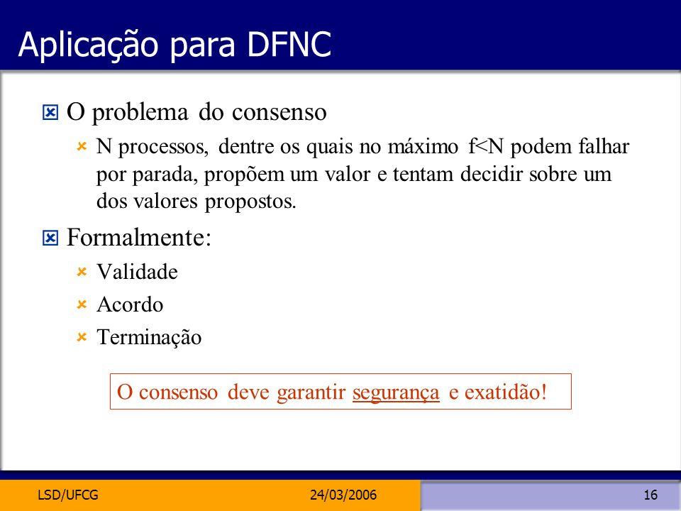 Aplicação para DFNC O problema do consenso Formalmente: