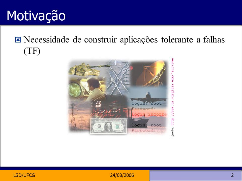 Motivação Necessidade de construir aplicações tolerante a falhas (TF)