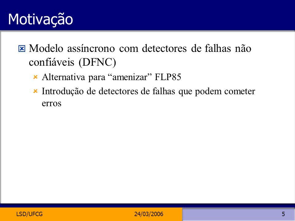 Motivação Modelo assíncrono com detectores de falhas não confiáveis (DFNC) Alternativa para amenizar FLP85.